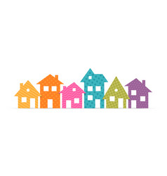 colorful suburban houses flat icon vector image