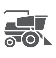 Combine harvester glyph icon agriculture and farm vector