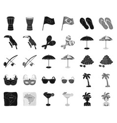 Country brazil blackmonochrome icons in set vector