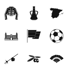 Country Spain icons set simple style vector image