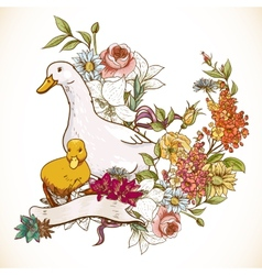 Cute background with ducks and flowers vector image