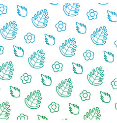 degraded line tropical leaf and exotic flower vector image