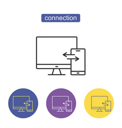 devices connection sign vector image