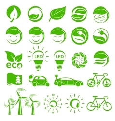 Ecology simple icons set vector
