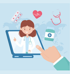 Female doctor online diagnostics and prescriptions vector