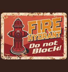 fire hydrant blocking warning retro banner vector image