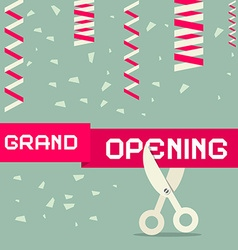 Flat Design Grand Opening with Confetti and vector