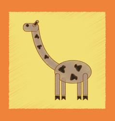 Flat shading style icon kids giraffe vector