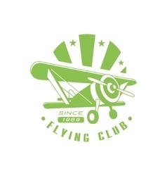 Flying Club Green Emblem Design vector image