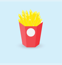 french fries in red paper box on blue background vector image