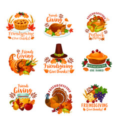 friendsgiving holiday and potluck icons vector image