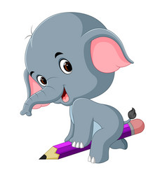 funny elephant sitting on big pencil vector image