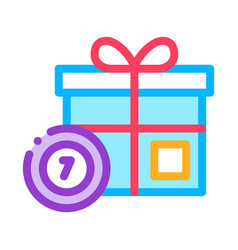 gift box with chips icon outline vector image
