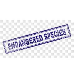 Grunge endangered species rectangle stamp vector