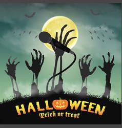 halloween karaoke microphone skeleton zombie hand vector image