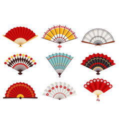 Hand paper fans asian traditional folding hand vector