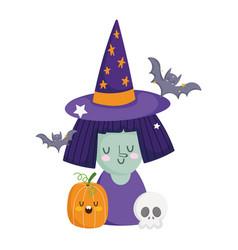happy halloween witch with hat pumpkin skull vector image