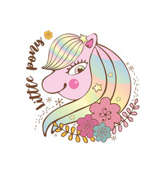 happy little pink pony with stars smiling vector image