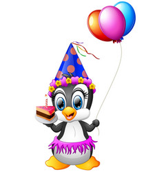 happy penguin cartoon holding birthday cake and ba vector image