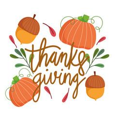 happy thanksgiving day pumpkins acorns leaf vector image