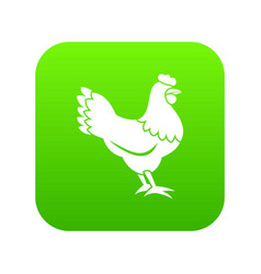 hen icon digital green vector image