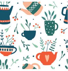 herbal tea seamless pattern vector image