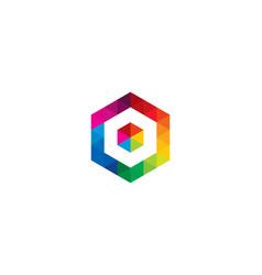 hexagon letter o logo icon design vector image