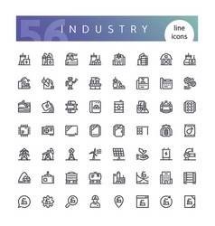 Industry line icons set vector