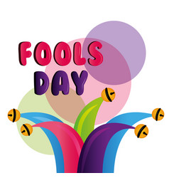 jester hat with bells decoration fools day vector image