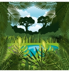 Jungle landscape background isolated icon design vector