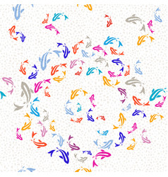 koi gold fish multicolor seamless pattern vector image