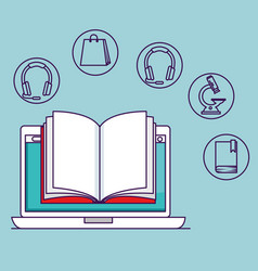 Laptop technology with book and elearning vector