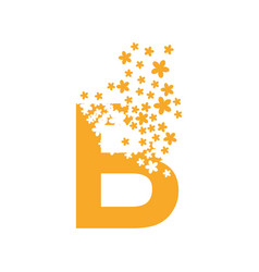 Letter b dissolves into a cloud flowers vector