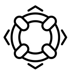 Lifebuoy icon outline style vector