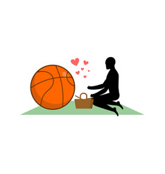 lover basketball guy and ball on picnic meal in vector image