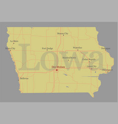 lowa accurate exact detailed state map vector image