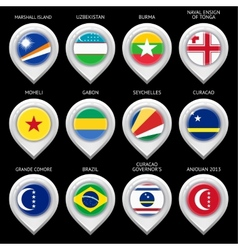 Map marker with flag-set eleventh vector image