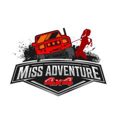 Miss adventure off road logo design vector
