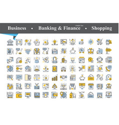 Modern thin line and flat icons set vector