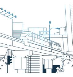 Modern thin line city view with railway bridge vector
