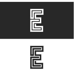 monogram letter e logo maze shape creative art vector image