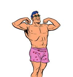 Muscular man in underpants vector