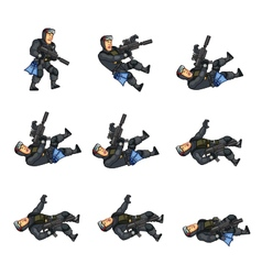 Navy seal dying sprite vector