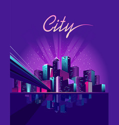neon city bridge vector image