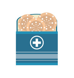package with medical band aid vector image