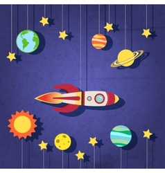 Paper rocket in space vector image