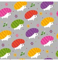 Pattern with cartoon hedgehogs vector