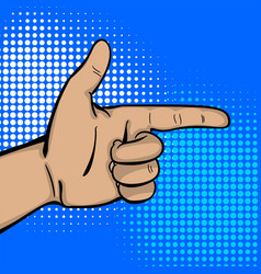pop art strong man hand show finger pointer vector image