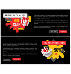 premium quality of products bought on sale in shop vector image