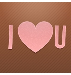 realistic pink paper i love you word vector image